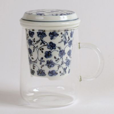 Japanese Porcelain Infuser with Glass Cup (FLORAL)